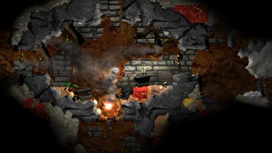 Kampf in Dunkle Mine: Fackeln und Explosionen beleuchten die Höhle