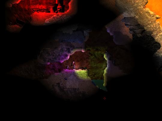 Farbige Lichter im Untergrund